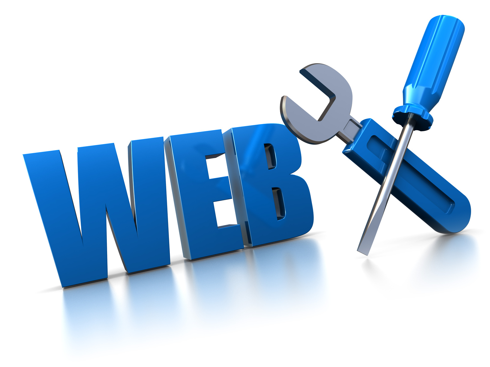3d illustration of web construction symbol with wrench and screwdriver