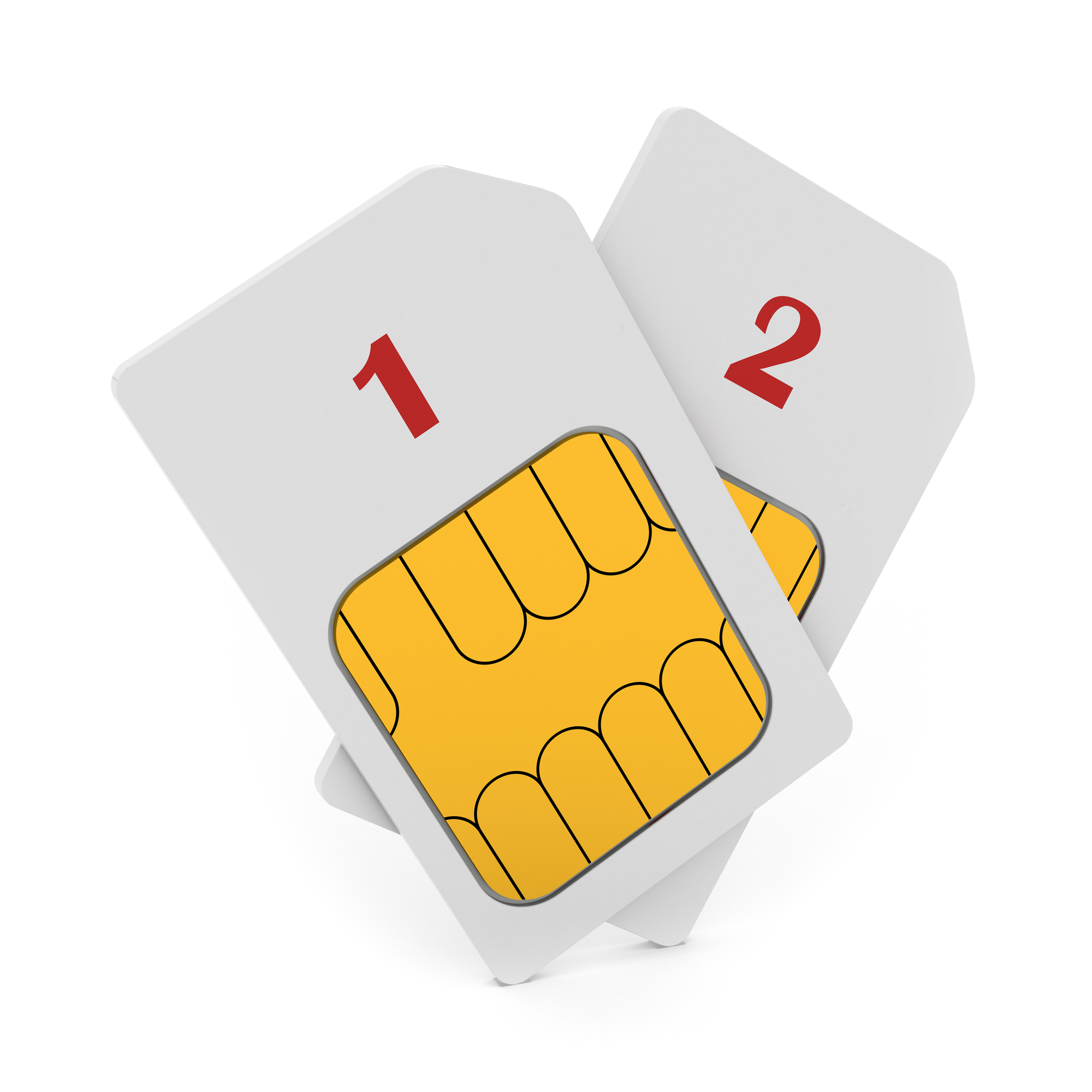 3d illustration of double phone SIM cards isolated